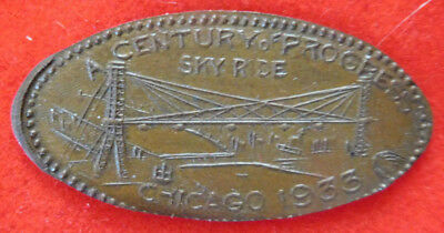 U.S. Early Elongated Token, A Century Of Progress, Chicago, 1933, Sky Ride