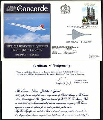 Barbados To London 1977 Queen First Flight Concorde Cover #C46370