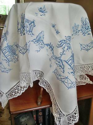 Fabulous Heavy Linen Willow Pattern Hand Embroidered Cotton Lace Edge Tablecloth