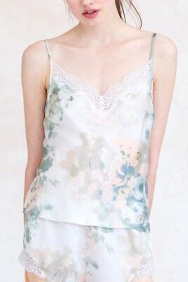New Jenny Yoo Isabella Ivory Sage Floral Printed Cami Charmeuse Size S