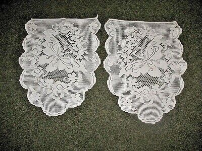 "LOT OF 2 VINTAGE Antique Hand Crocheted FILET BUTTERFLY PANELS DOILY 17"" X 25"""