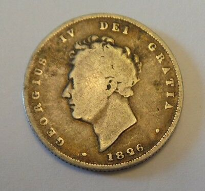 1826 King George Iv - Silver Shilling Coin - Bare Head Portrait