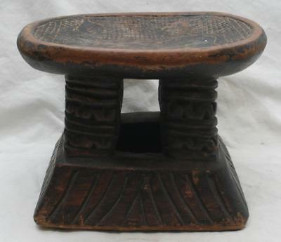 Attractive Antique African Carved Wooden Tribal Headrest #1