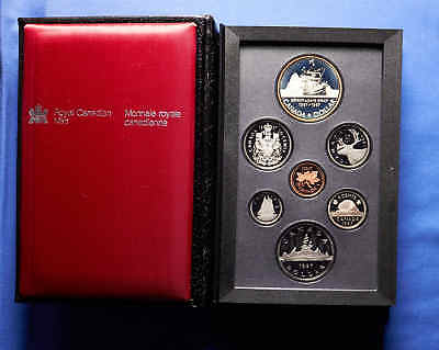 1987 Canadian Proof Set. 7 Total Coins. Leather Case. Missing top plastic cover