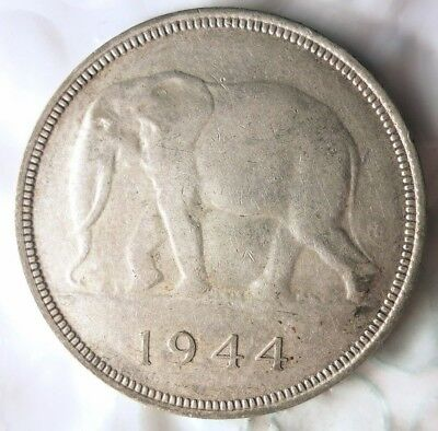 1944 BELGIAN CONGO 50 FRANCS - HUGE VALUE SILVER CROWN - AU - Lot #718