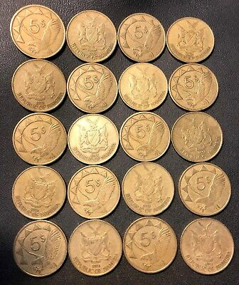 Old NAMIBIA Coin Lot - 20 Great Scarce Coins - 5 Dollar Coins - Lot #718