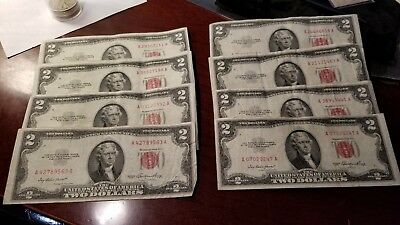 Lot Of 8 $2 1953 Red Seal Legal Tender Notes Circulated