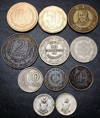 Lot of 11x World Coins - Chile, Peru, Uruguay, ECC, Philippines (Silver), Mexico
