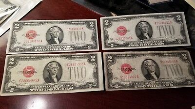 Lot Of 4 $2 1928 Red Seal Legal Tender Notes Circulated