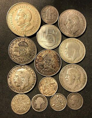 Vintage WORLD Silver Coin Lot - 1879-1957 - 14 Silver Coins - Lot #718