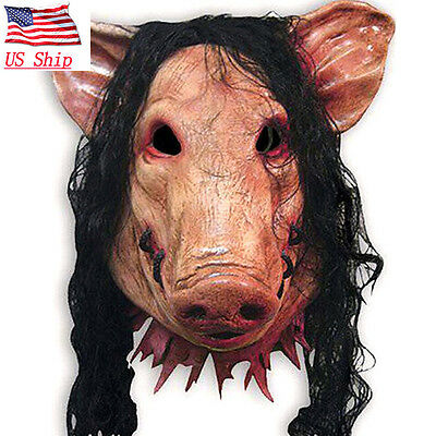 US SHIP Halloween Horror Movie Saw Pig Mask Latex Full Face Party Cosplay Prop