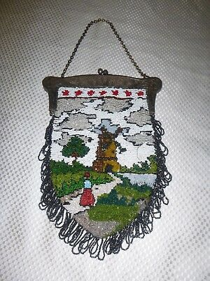 Magnificent Antique Beaded Purse German Silver Deeply Cast Figural Frame, Scenic