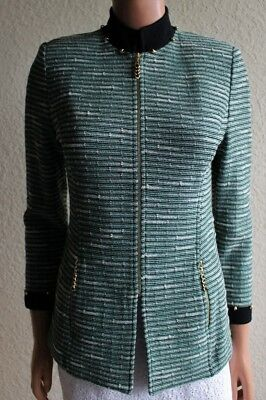 ST JOHN Collection Marie Gray Santana Green Stripe Zip Front Knit Jacket size 2