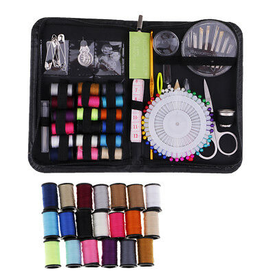136pcs Portable Mini Sewing Kit DIY Sewing Supplies with Black Carrying Case