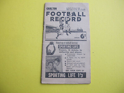 Carlton Collingwood August 1952 Football Record