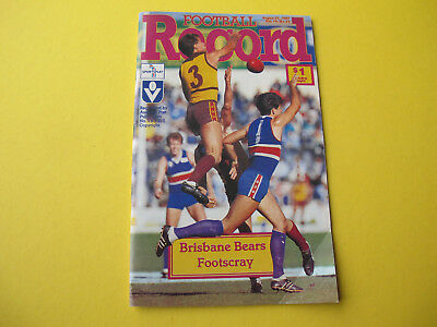 August 1987 Brisbane Bears Footscray Football Record