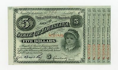 1870's $5 The State of LOUISIANA Baby Bond w/ 5 Coupons UNC