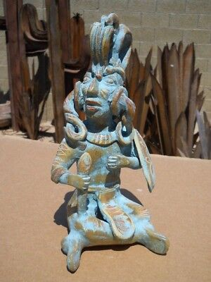 MAYA King PAKAL clay statue figure Mexican folk art pottery Turquoise Aztec