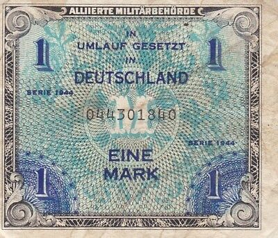 1944 Germany 1 Mark Allied Military Currency Note, Pick 192a