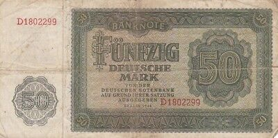 1948 East Germany 50 Deutche Mark Note, Pick 14a; Scarce Early Variety