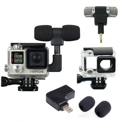Side Open Skeleton Housing Case + Mini Microphone Adapter for GoPro Hero 3 3+ 4