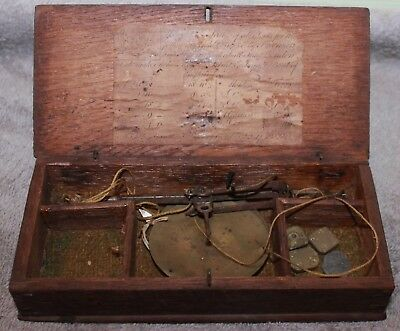 Rare Late 18C-19C Freeman And Sons London Hand Held Gold Scale Wood Case