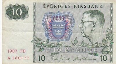 1987 Sweden 10 Kronor Note, Pick 52e