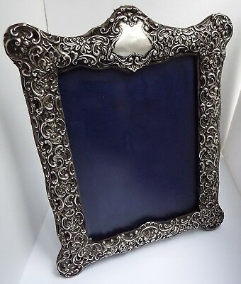 """Fine Decorative Large 10"""" English Antique 1904 Solid Sterling Silver Photo Frame"""