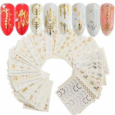 30 Sheets Multiple 3D Nail Art Stickers Hollow Decal Manicure Design Accessories