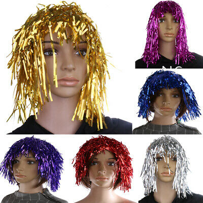 Funny Glitter Metallic Foil Tinsel Wig Fancy Dress up Costume Prop 70s Disco Wig