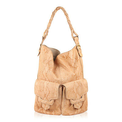 Authentic Sergio Rossi Beige Python Leather Tote Shopping Bag