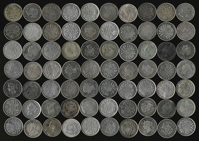 70 CANADA SILVER 5¢ (LATTER 1800's to EARLY 1900's) MANY DATES >>> NO RESERVE