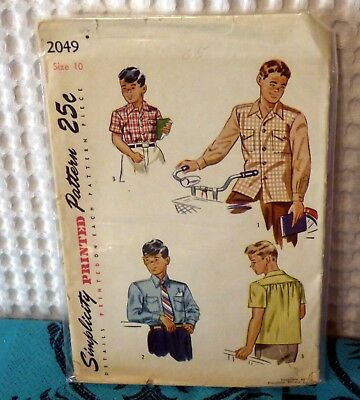 40s Simplicity Boys shirt sewing pattern 2049 10/28 breast