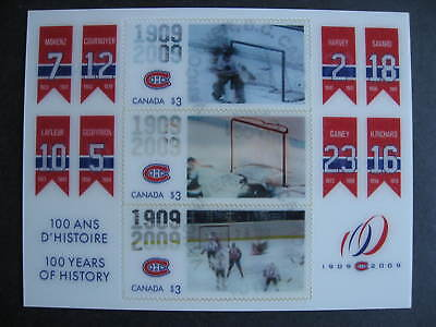 Canada Sc 2340 Montreal Canadiens souvenir sheet used, backing on still