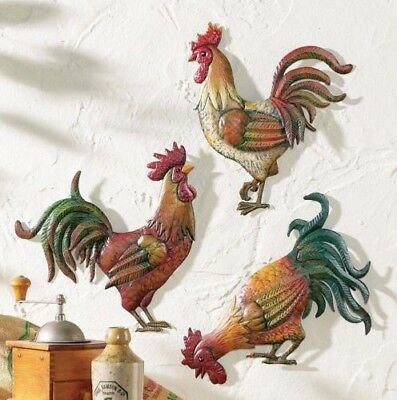 Set of 3 Metal French Country Rooster Chicken Wall Art Rustic Vintage Home Decor