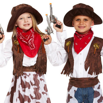 Cowboy Kids Fancy Dress Wild Western Cowgirl Childs Boys Girls Book Day Costumes