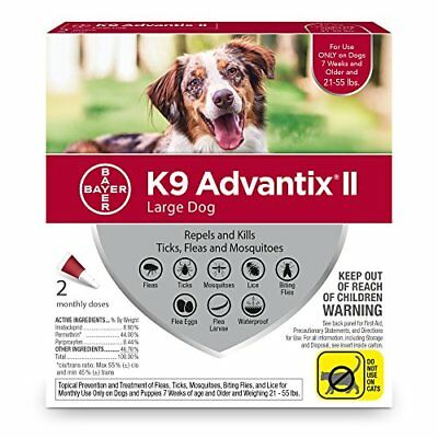 Bayer K9 Advantix II Flea, Tick and Mosquito prevention for Large Dogs 21-55 ...