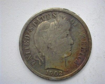 1902-S Barber Silver 10 Cents Better Date! Rainbow Toning!