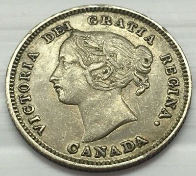 Only 2 Million Minted : 1901 Silver Canada 5 Cents Coin * Free U.s. Ship