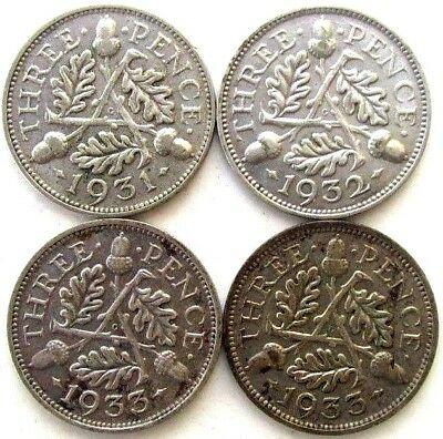 Gb - Uk Coins, Threepence 1931 & 1932 & 2 * 1933, George V, Silver 0.500