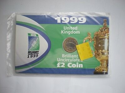 1999 UK £2 Two Coin Rugby World Cup - Sealed BU Presentation Pack