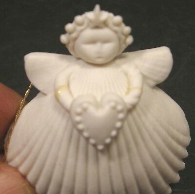 "As Is1994 Margaret Furlong 2"" Porcelain Angel Ornament W/heart Star Crown Signed"