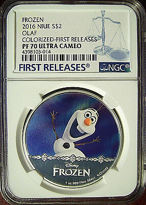 2016 Niue $2 Disney Frozen Olaf Silver 1 Oz  NGC PF70 First Releases w/ Mint Box