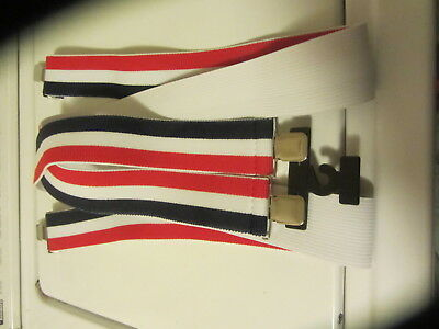 "Men's Red/ White/ Blue Strip Work Style Suspenders 2"" Clip Style Heavy Duty"
