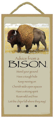 ADVICE FROM A BISON Wood INSPIRATIONAL SIGN wall NOVELTY PLAQUE Buffalo animal