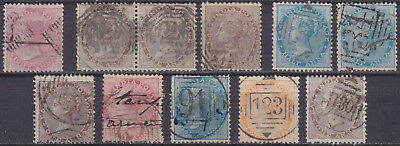 INDIEN India 1856/68 QV collection ex Mi 10-26 numeral cancels as B172 Singapore