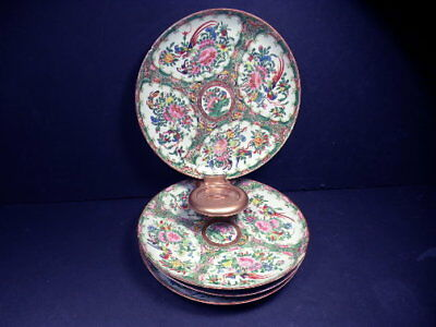 4Pc Vintage Ca 1860 Chinese Export Rose Medallion Peacock Plate L-417