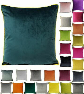 Faux Velvet Cushion Cover With Piped Edge 55x55cm Square Scatter By Paoletti