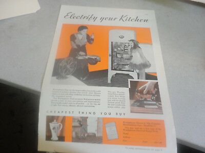 Vintage Westinghouse Electrify your Kitchen Advertisement Fridge,Stove,Irons