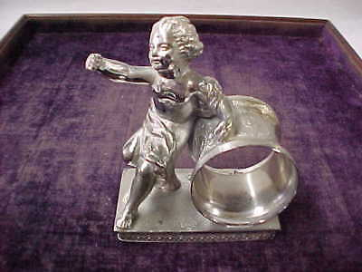 Early Antique Reed And Barton Figural Silverplate Napkin Ring.